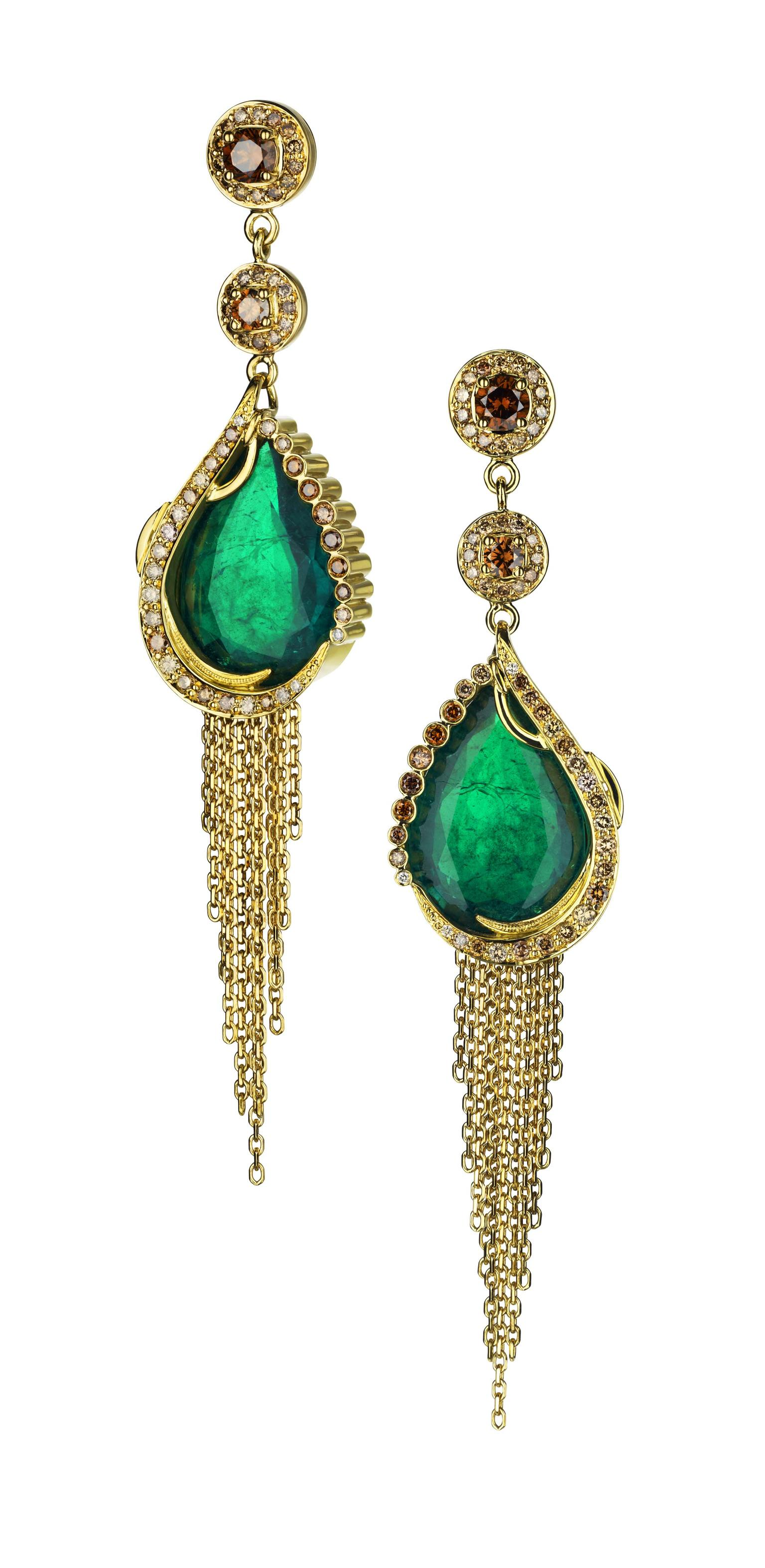 Ana de Costa earrings in yellow gold featuring a matching pair of Gemfields Zambian cabochon emeralds and pavé set with natural cognac diamonds.