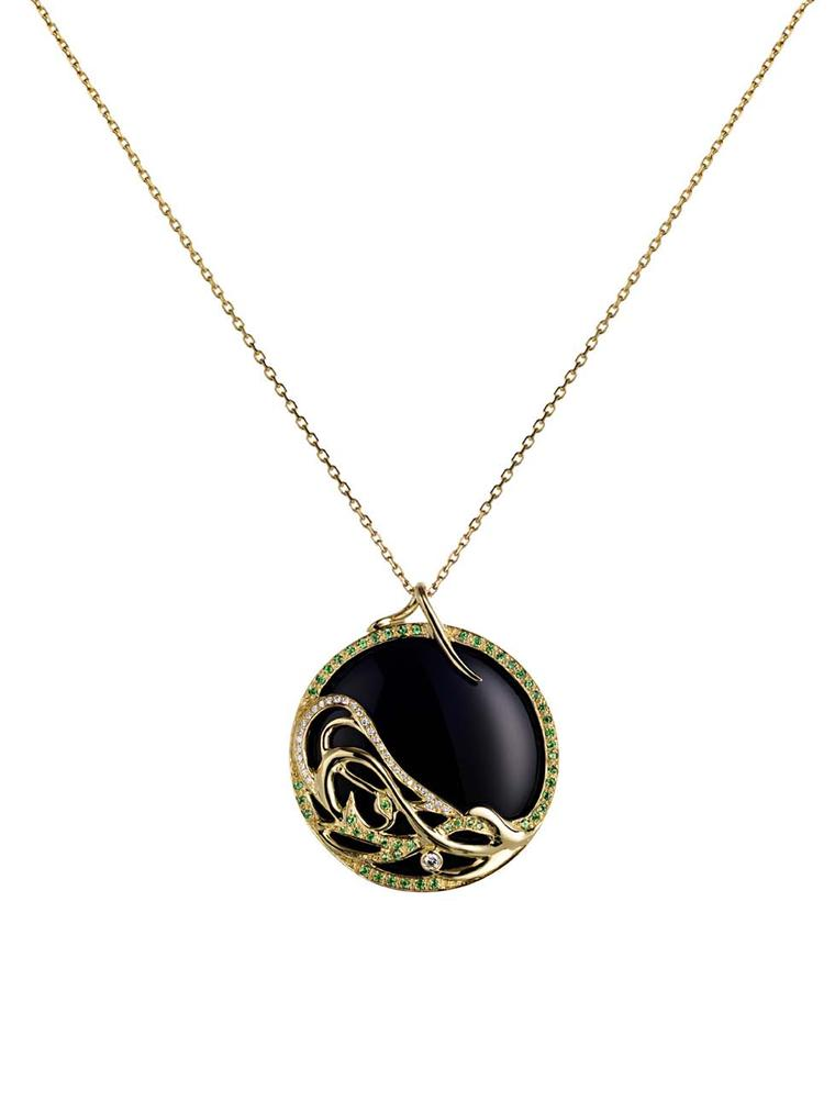 Ana de Costa Art Nouveau pendant in yellow gold and onyx from the Mystical Tarot collection, pavé set with diamonds and tsavorites.