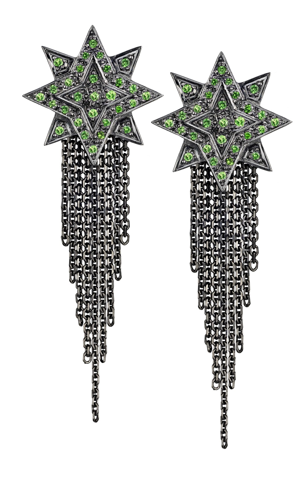 Ana de Costa earrings in blackened white gold from the Alchemy collection, pavé set with tsavorites.