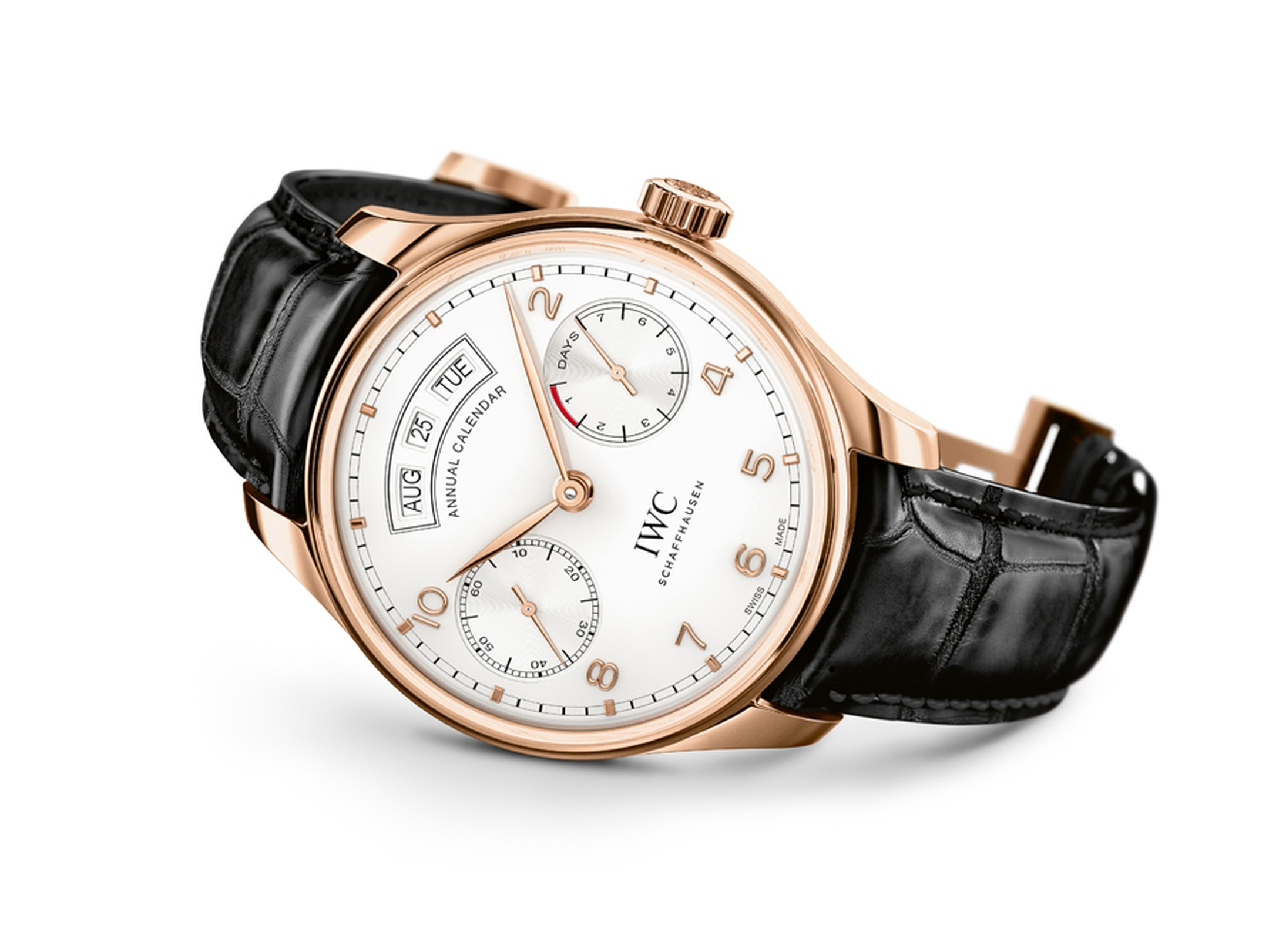Three apertures at 12 o'clock on the dial indicate the month, the date and the day of the week. Unlike perpetual calendars, annual calendars need to be corrected once a year at the end of February, and the new Portugieser Annual Calendar allows this to be