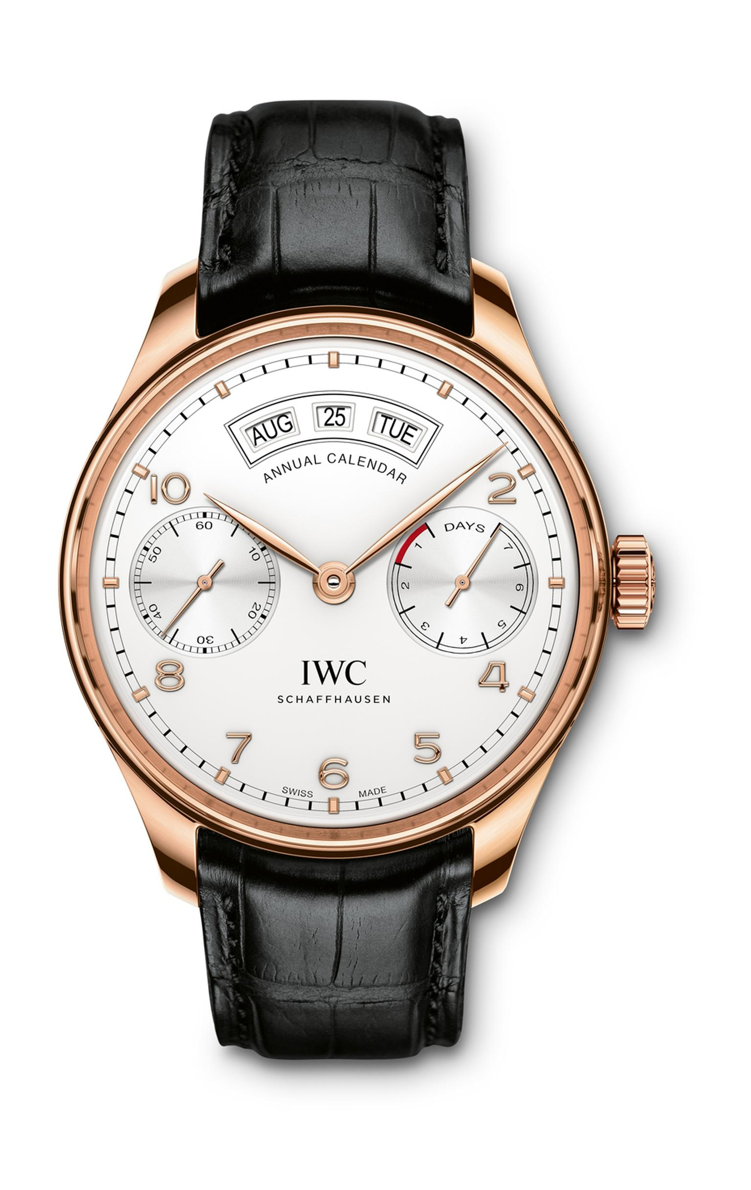 The aesthetics of IWC's new Annual Calendar watch are remarkably similar to the original 1939 Portugieser, with its large 44.2mm stainless steel or red gold case, grooved bezel, railway-track chapter ring and Arabic numerals. The two subdials display smal