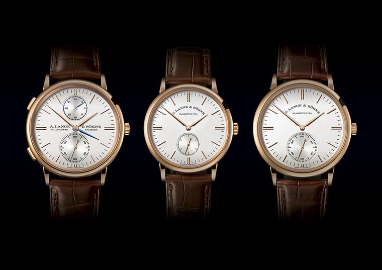 "During the week of the SIHH watch salon in Geneva, A. Lange & Söhne has launched three models of its Saxonia watch family with ""new design accents"" on the dial. From left to right: the Saxonia Dual Time; Saxonia; and Saxonia Automatic."