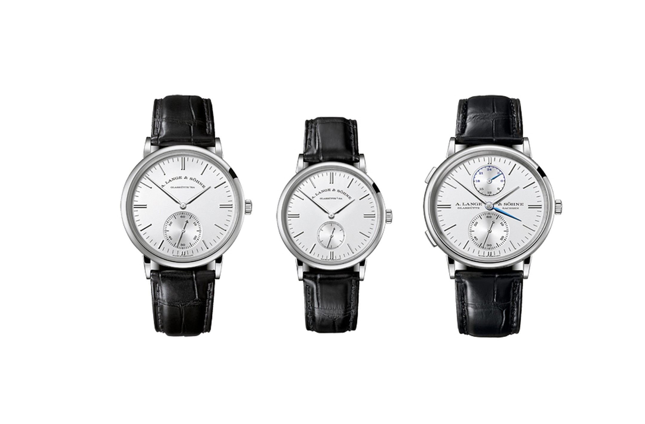 All three models of the Saxonia family are available in rose or white gold cases.