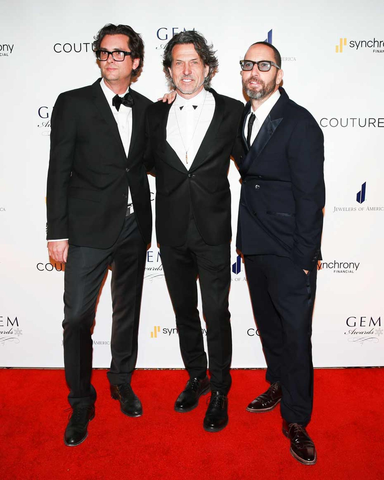 GEM Award winner Stephen Webster alongside fellow nominees in the Design category, Todd Reed, left, and Alexis Bittar, right. Image: Ben Rosser/BFAnyc.com