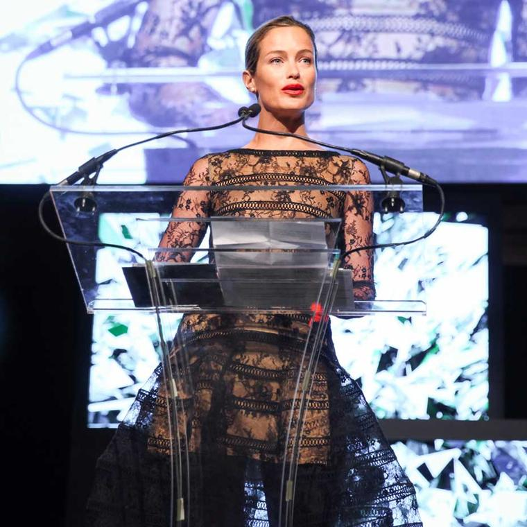 Model Carolyn Murphy accepted the Marketing award for Detroit's Shinola and its compelling message of rebirth and regeneration of American manufacturing. Image: Ben Rosser/BFAnyc.com