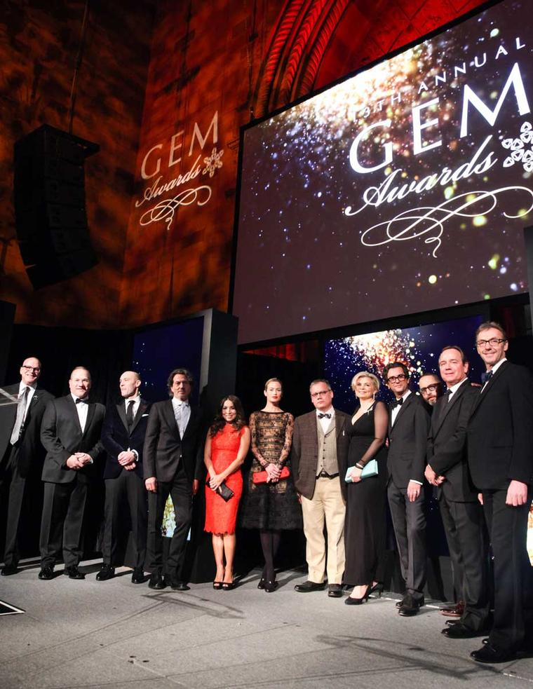 A selection of the 2015 GEM Award nominees, including The Jewellery Editor's own Maria Doulton, pictured with Larry Pelzel, winner of the Lifetime Achievement Award.