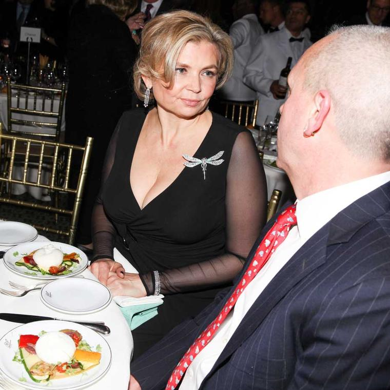 Nominee Maria Doulton wore a Tiffany and Co. Dragonfly brooch and Tiffany diamond earrings on the night. Image: Ben Rosser/BFAnyc.com