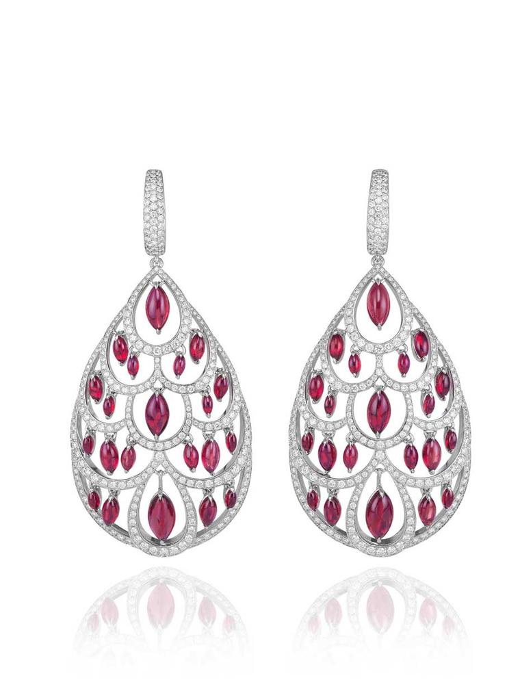 A close-up of the 9ct ruby and 3ct diamond earrings, set in 18ct white gold, from Chopard's Red Carpet collection, which were worn by British nominee Helen Mirren on the Golden Globes red carpet.