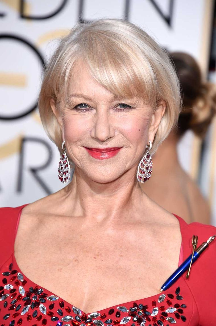 Nominated for Best Actress in a Motion Picture, Britain's Helen Mirren wore Chopard Red Carpet Collection earrings at the 2015 Golden Globe Awards.