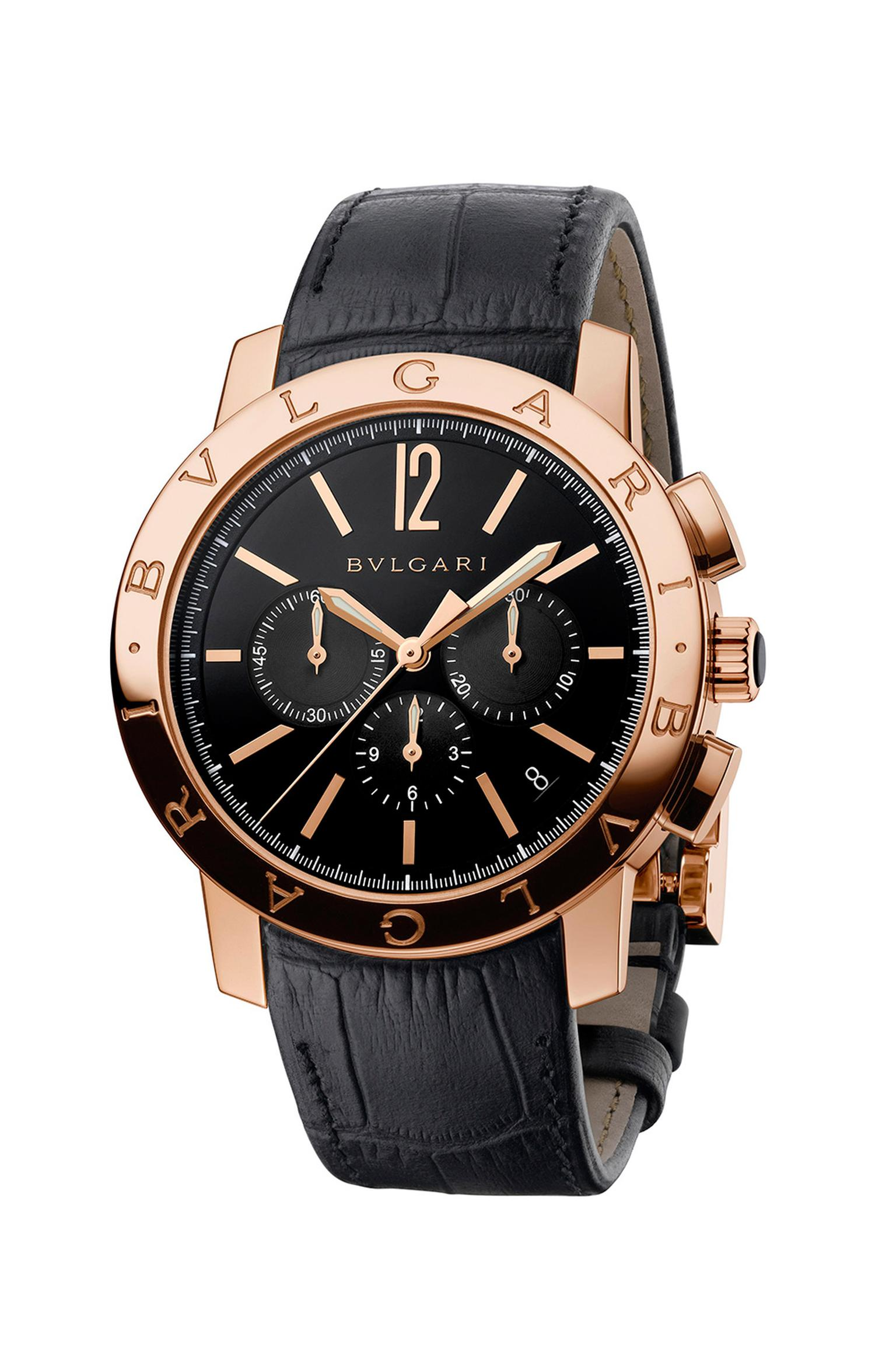 The Bulgari Bulgari Velocissimo watch in rose gold, as worn by Adrien Brody to the Golden Globes, is a high-frequency chronograph with a column wheel mechanism and a generous 50-hour power reserve.