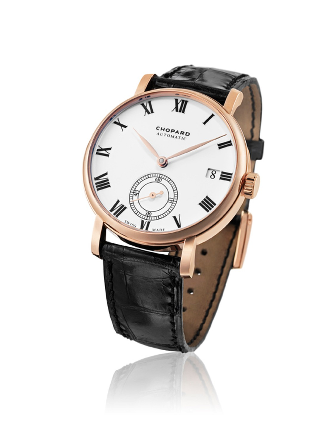 The Chopard Classic Manufacture watch in rose gold worn by Eddie Redmayne to the Golden Globes 2015. The movement, produced entirely by Chopard, is a mechanical self-winding calibre with a 60-hour power reserve.