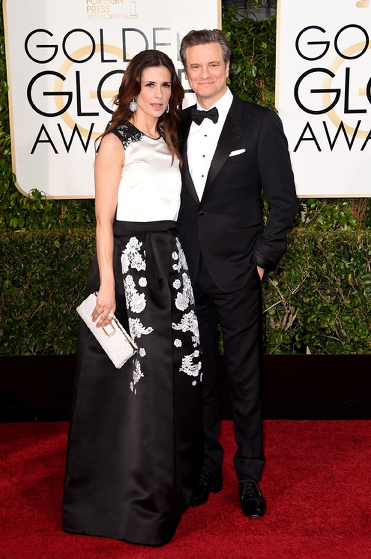 British actor Colin Firth wore an elegant Chopard L.U.C XPS watch in white gold with a black dial to the Golden Globe Awards 2015. Pictured here with his wife Olivia Firth.