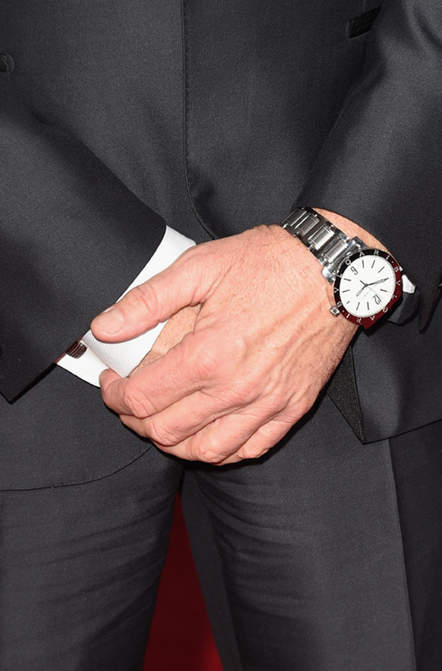 Michael Keaton wearing the Bulgari Bulgari Solotempo watch. This Solotempo model comes in a 41mm stainless steel case and has hours, minutes, central seconds and a date window with a white lacquered dial. (Getty Images)
