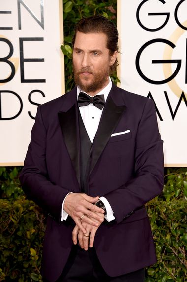 Actor Matthew McConaughey opted for a Bulgari Bulgari Solotempo watch in stainless steel with a black lacquered dial. (Getty Images)