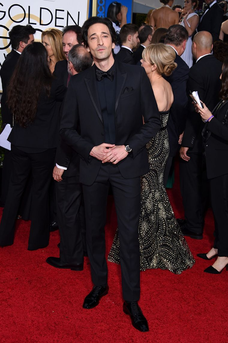 Adrien Brody chose the sportier Bulgari Bulgari Velocissimo in rose gold for the Golden Globe Awards without sacrificing an iota of his black tie look. (Getty Images)