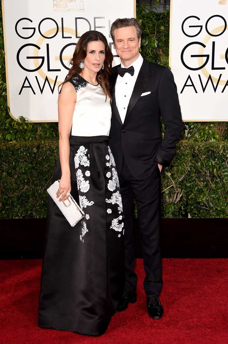Livia Firth, founder of Eco-Age and the Green Carpet Challenge, wore diamond high jewelry earrings in Fairmined gold from Chopard's Green Carpet collection on the red carpet at the 2015 Golden Globes.