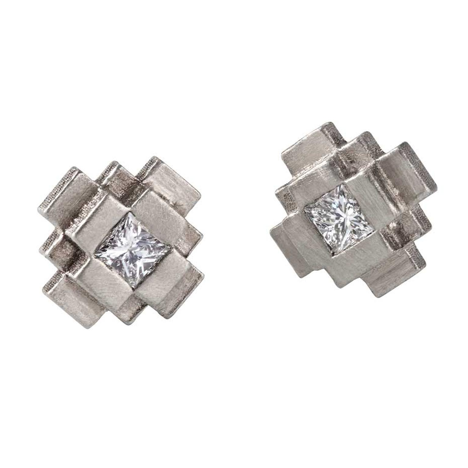 Baptiste Monvoisin Pixel earrings with princess-cut diamonds in sandblasted white gold.