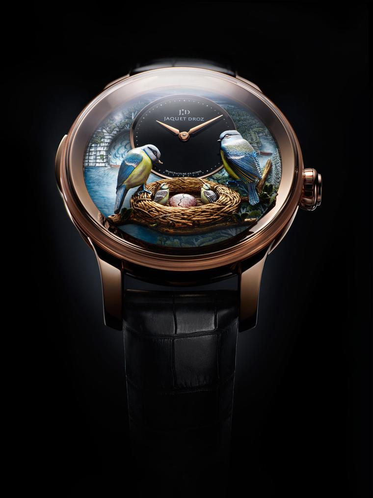 In 2012 Jaquet Droz unveiled the Bird Repeater, an authentic automaton featuring two blue birds feeding a worm to its hungry chicks, one chick literally breaking out of its shell.
