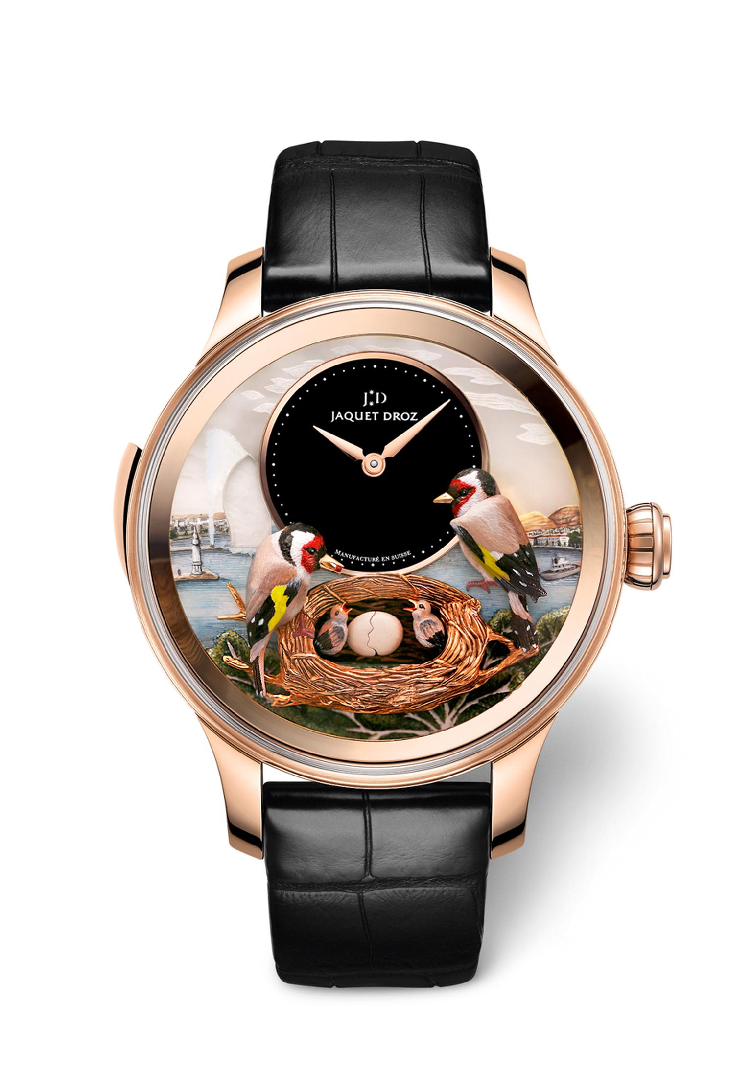At the beginning of 2015, Jaquet Droz has launched the new Bird Repeater Geneva. An automaton watch with a minute repeater, the technical complexity of this piece is on a par with the artistry involved in the dial.