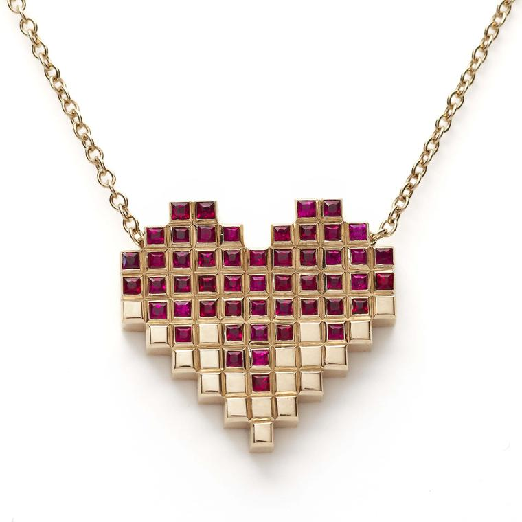 Francesca Grima Pixel Heart ruby necklace in yellow gold on a yellow gold chain.