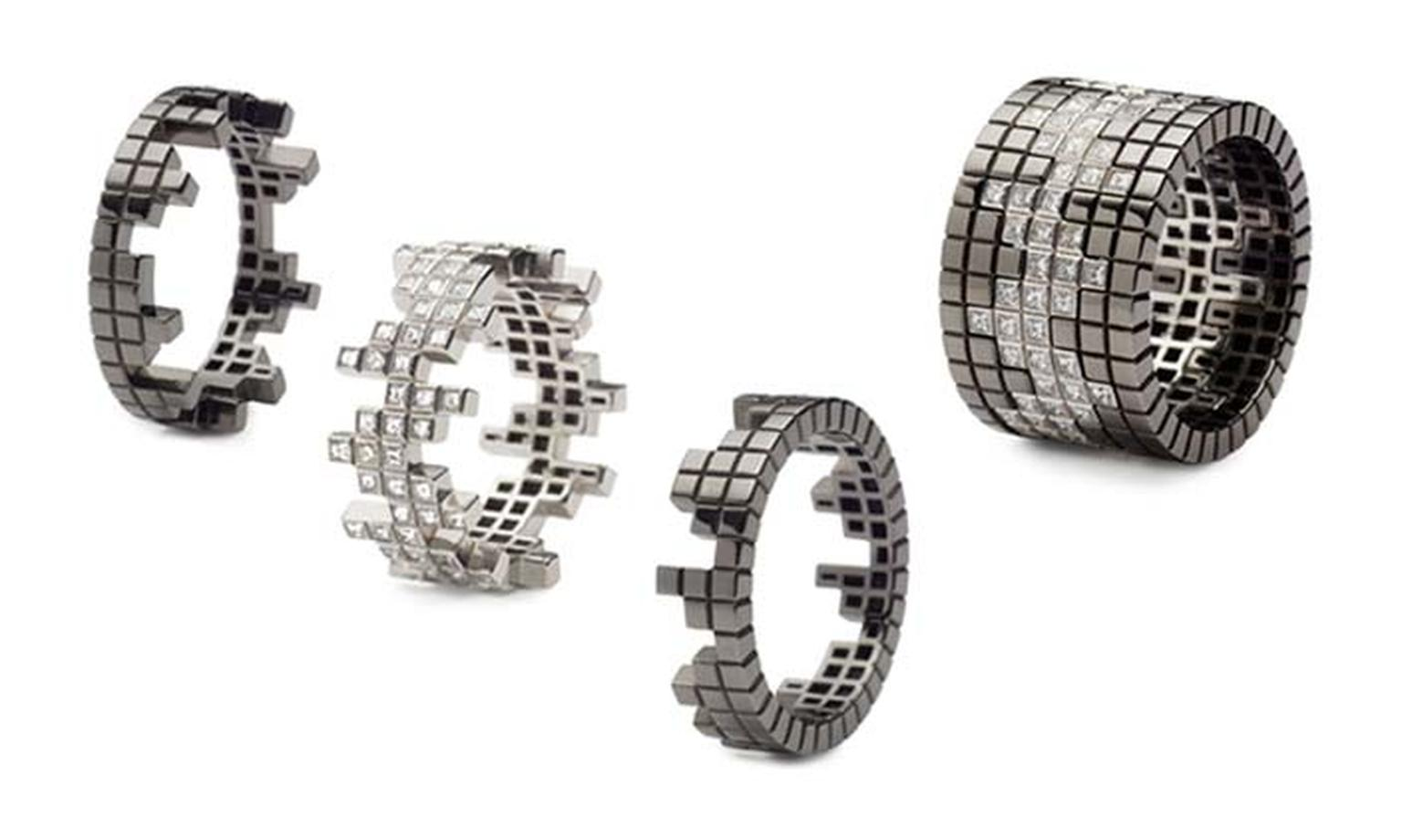 Francesca Grima stackable rings in white gold with diamonds and blackened gold, from the Pixel collection.
