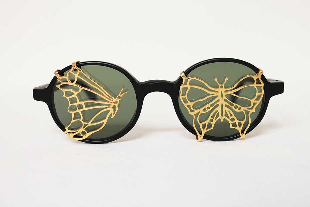 Maskhara with Butterflies sunglasses in gold plated silver and enamel, available in a signed and numbered limited edition of 25, by Iranian artist Avish Khebrehzadeh for L.G.R.