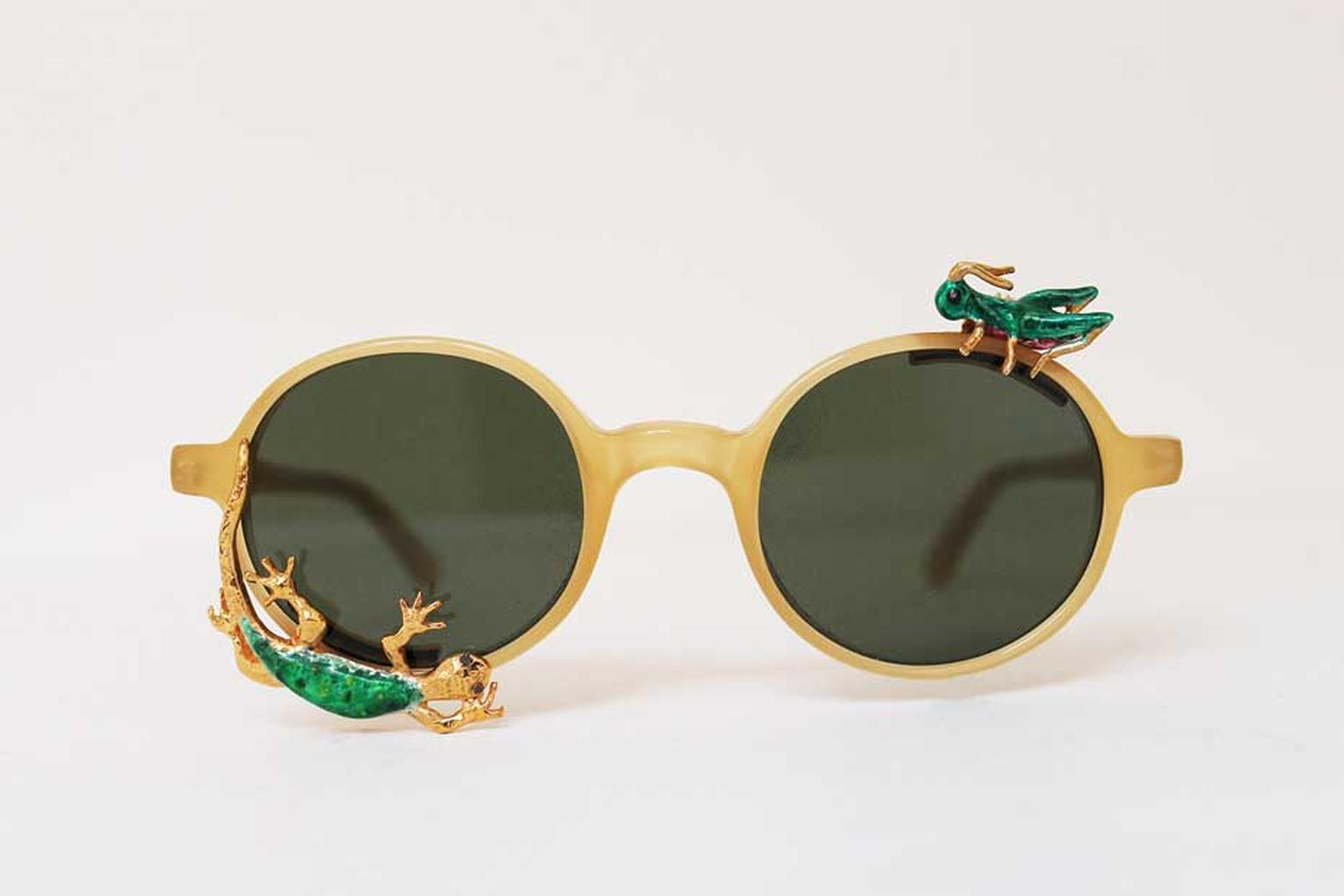 Avish Khebrehzadeh Maskhara with Lizard and Cricket L.G.R limited-edition sunglasses in gold-plated silver and enamel with black diamonds.