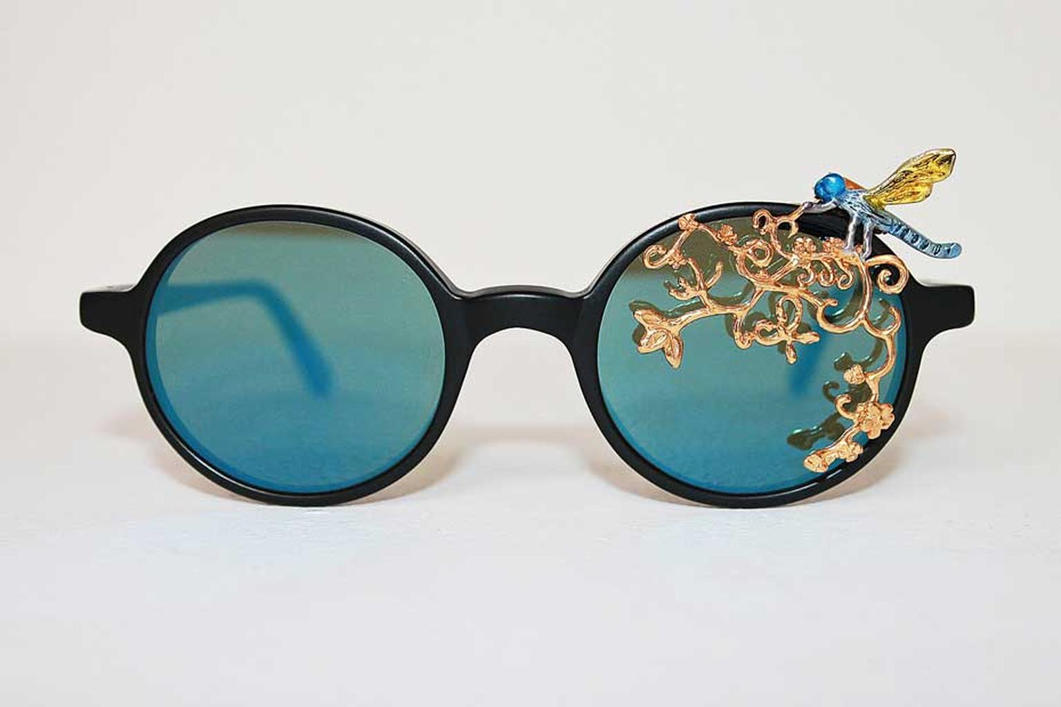 Maskhara with Dragonfly sunglasses in gold-plated silver and enamel, available in a signed and numbered limited edition of 25, created by Iranian artist Avish Khebrehzadeh for L.G.R.