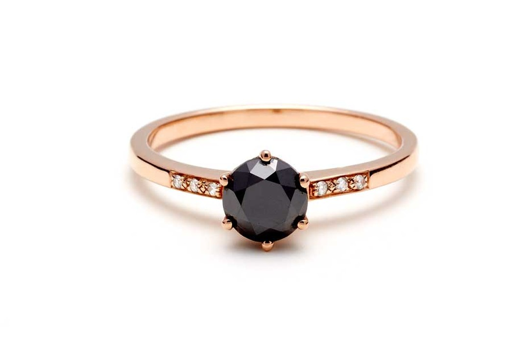 Anna Sheffield Hazeline rose gold engagement ring, set with a 1.0ct black diamond and white diamond accents.