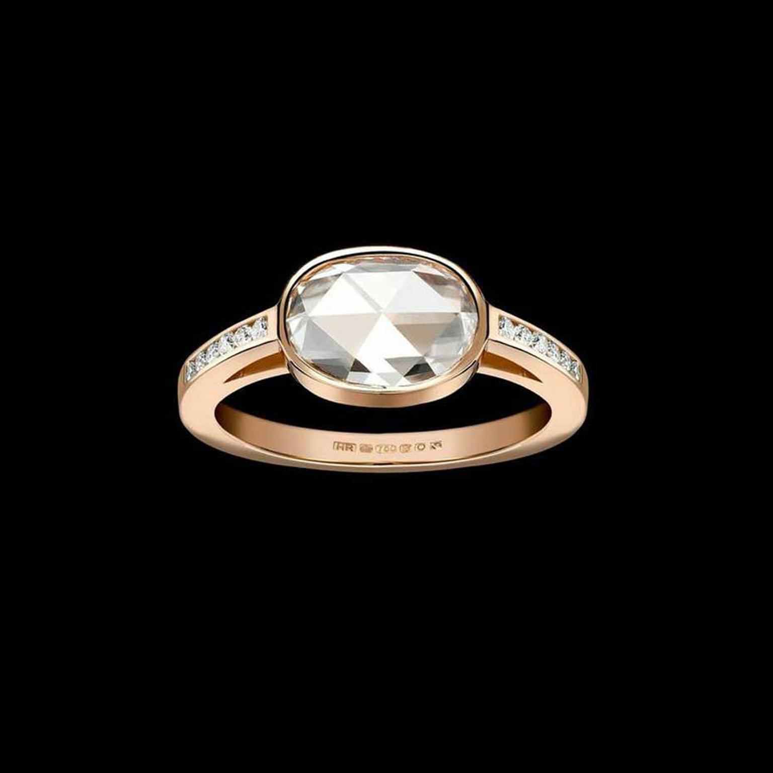 Bespoke Hattie Rickards rose gold engagement ring, set with a rose-cut oval diamond and pavé diamonds.
