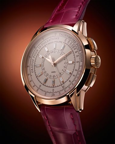 Patek Philippe Multi-Scale Chronograph Reference 4675 forms part of the 175th Anniversary collection and features three logarithmic scales that can be used to compute speed via a tachymeter, distance with a telemeter and heartbeats per minute with a pulso