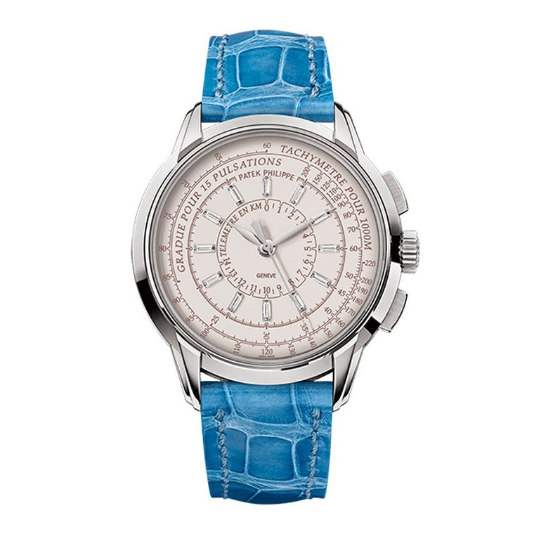 Patek Philippe Multi-Scale Chronograph Reference 4675 is a 37mm ladies' watch and is limited to 150 pieces in either white or rose gold and is presented on a blue or purple alligator strap.