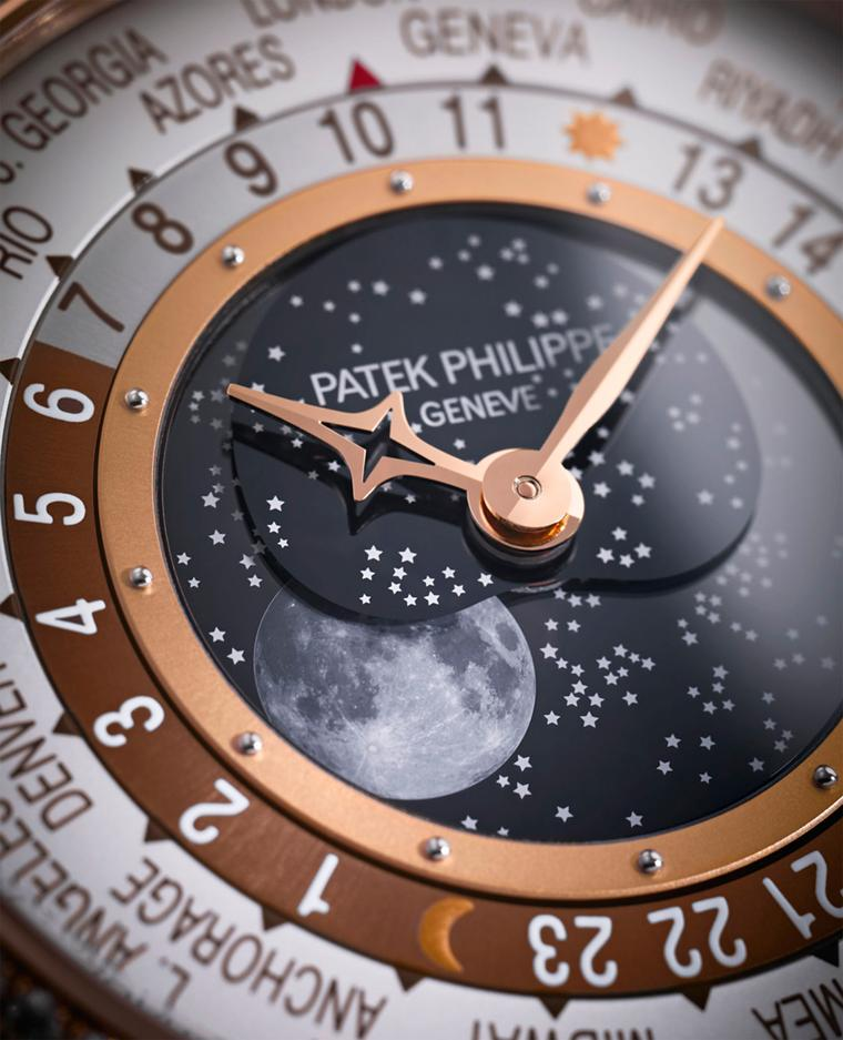 Patek Philippe World Time Moon Reference 7175 fuses a classic Moon-phase complication with a world time watch. The classic Patek world time discs, first launched in the 1930s, are placed at the periphery of the dial and indicate the time in all of the wor