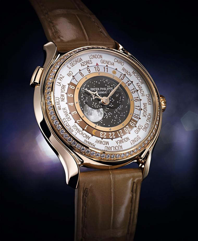 Patek Philippe World Time Moon gives the Moon, which has been reproduced to a degree of realism with craters and all, centre stage on the dial.