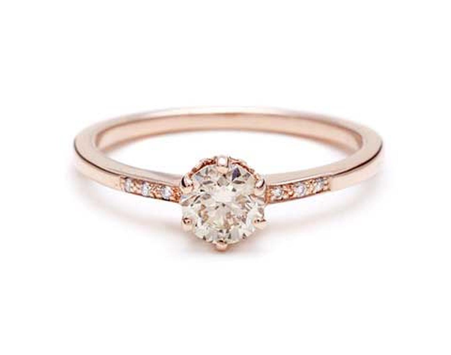 Anna Sheffield Hazeline rose gold engagement ring, set with a 1.0ct white diamond and white diamond accents.