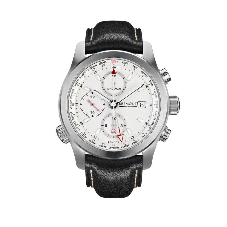 Bremont Kingsman Special Edition chronograph World Timer watch in stainless steel.