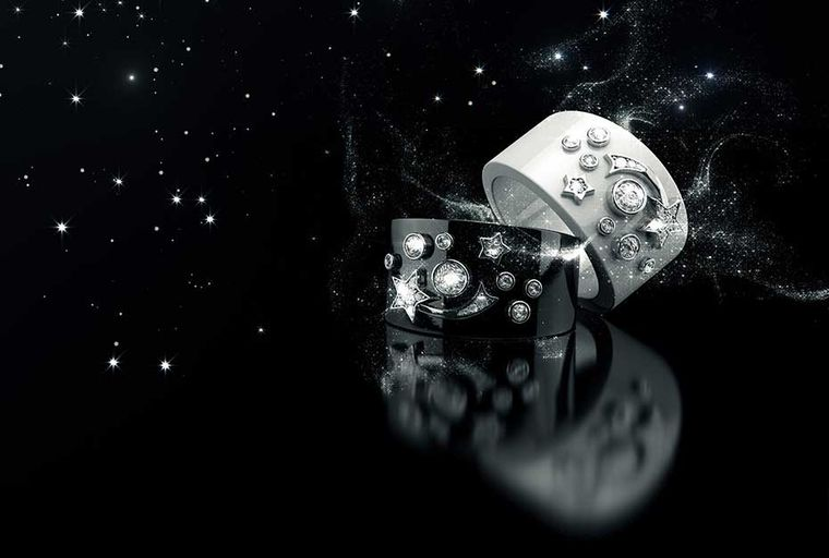 The new Chanel fine jewellery collection Cosmique de Chanel combines the maison's iconic star and comet motifs with cool black and white ceramic.