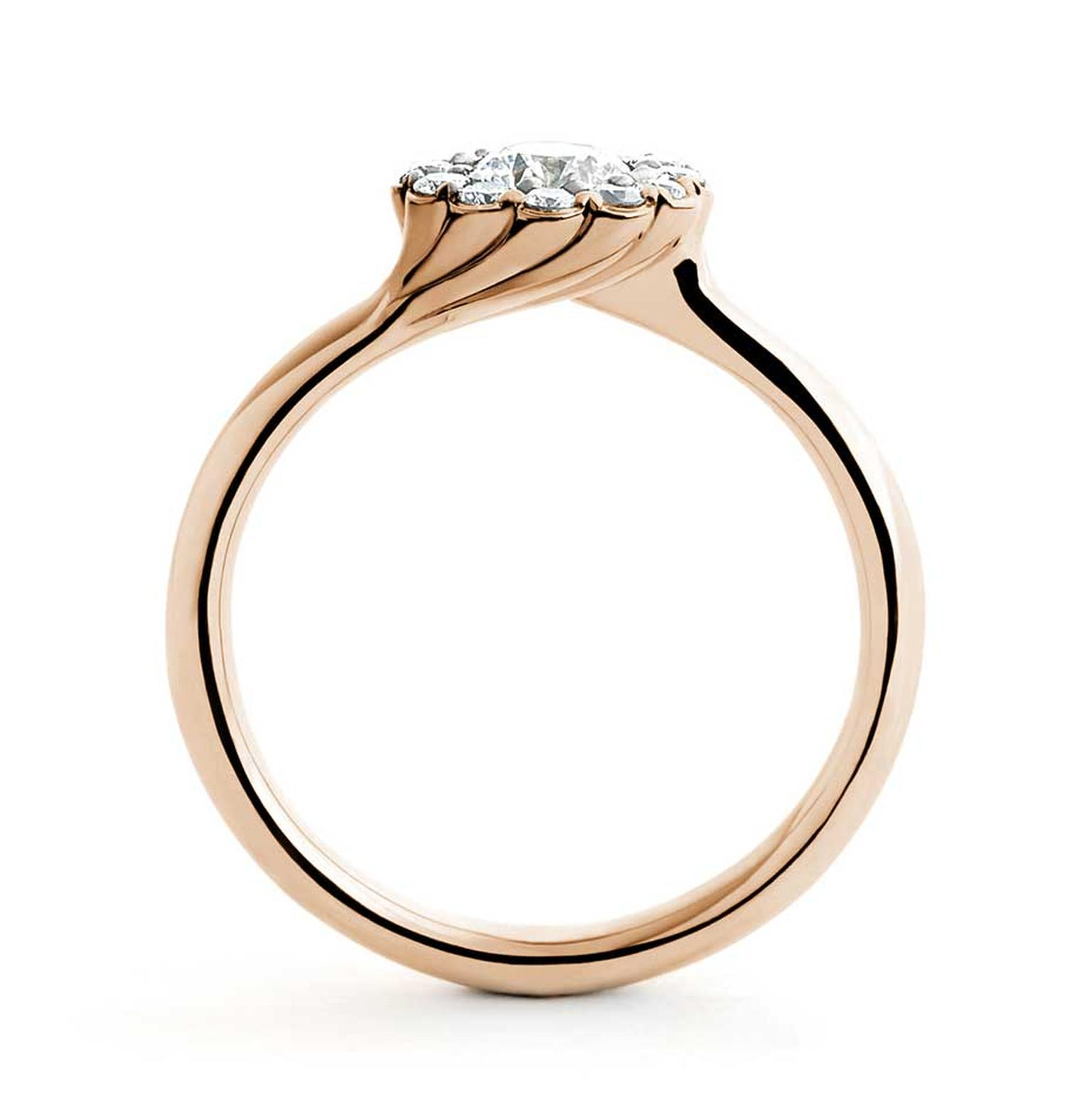 A side-on view of the aptly named Cannelé Twist engagement ring in rose gold by Andrew Geoghegan.