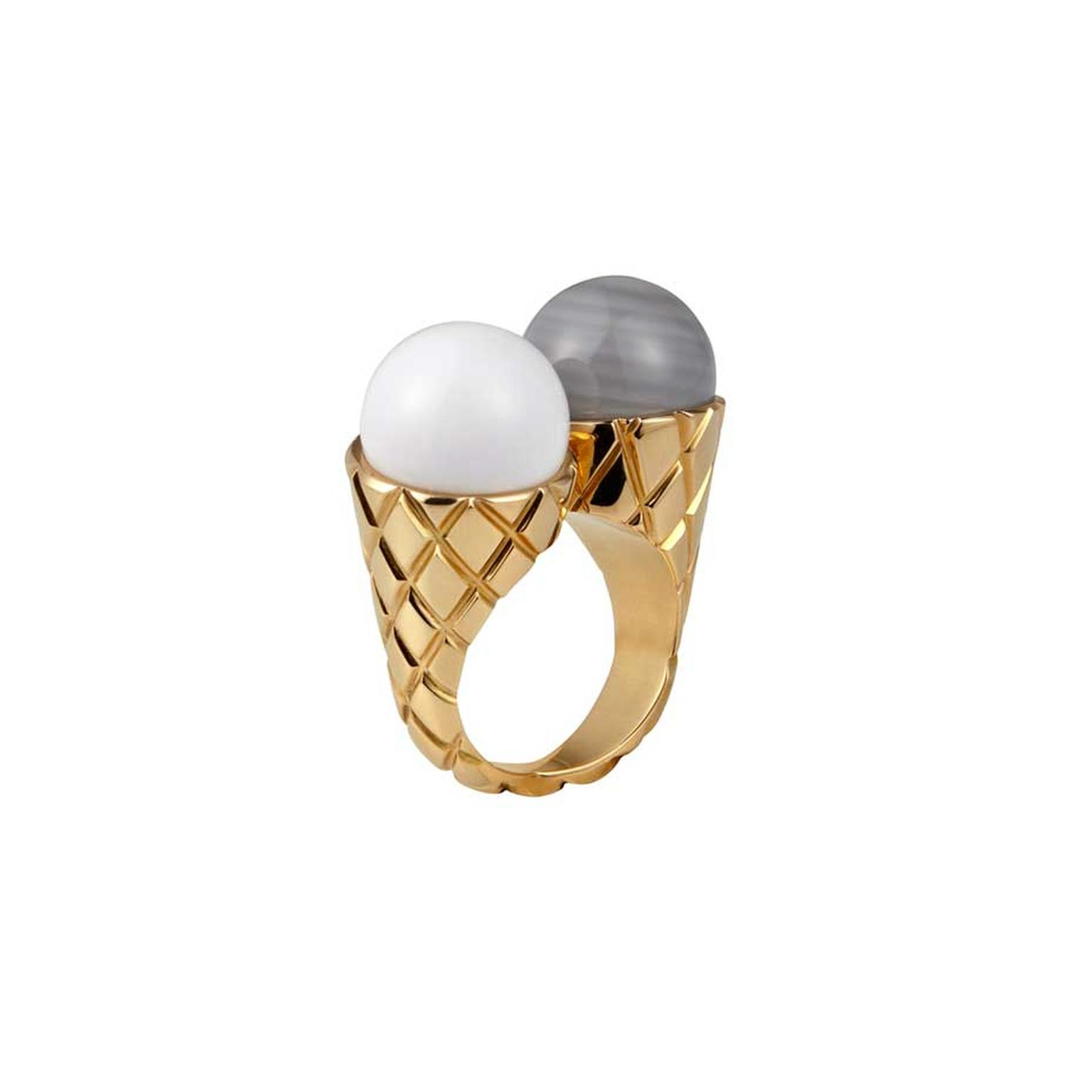 Cora Sheibani's Ice Cream ring in 18ct rose gold with grey striped chalcedony and cacholong evokes memories of sunny days on the beach. Available at kultia.com.