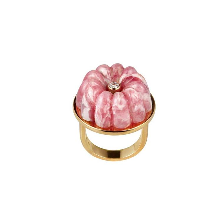 Cora Sheibani Strawberries and Cream ring in yellow gold with carved rodochrosite.