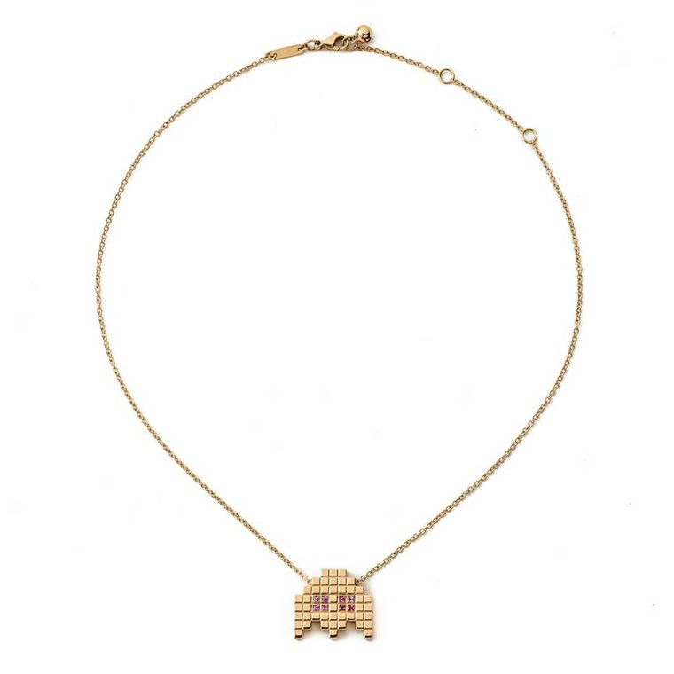 Francesca Grima Invader II necklace in polished yellow gold and princess-cut pink sapphires.