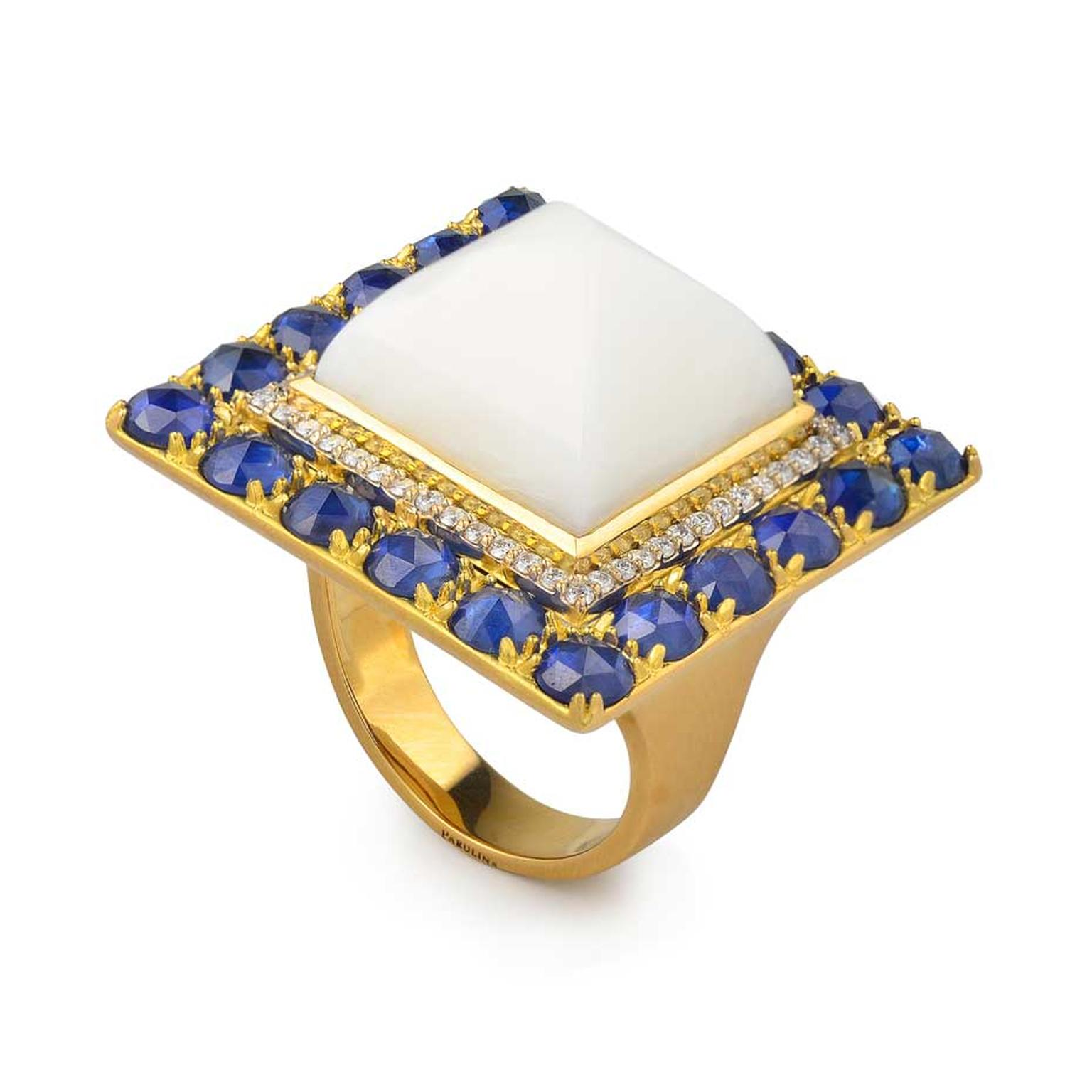 Parulina Pac-Man ring in yellow gold, set with blue sapphires, diamonds and white coral. Available at Neiman Marcus Boca Raton.