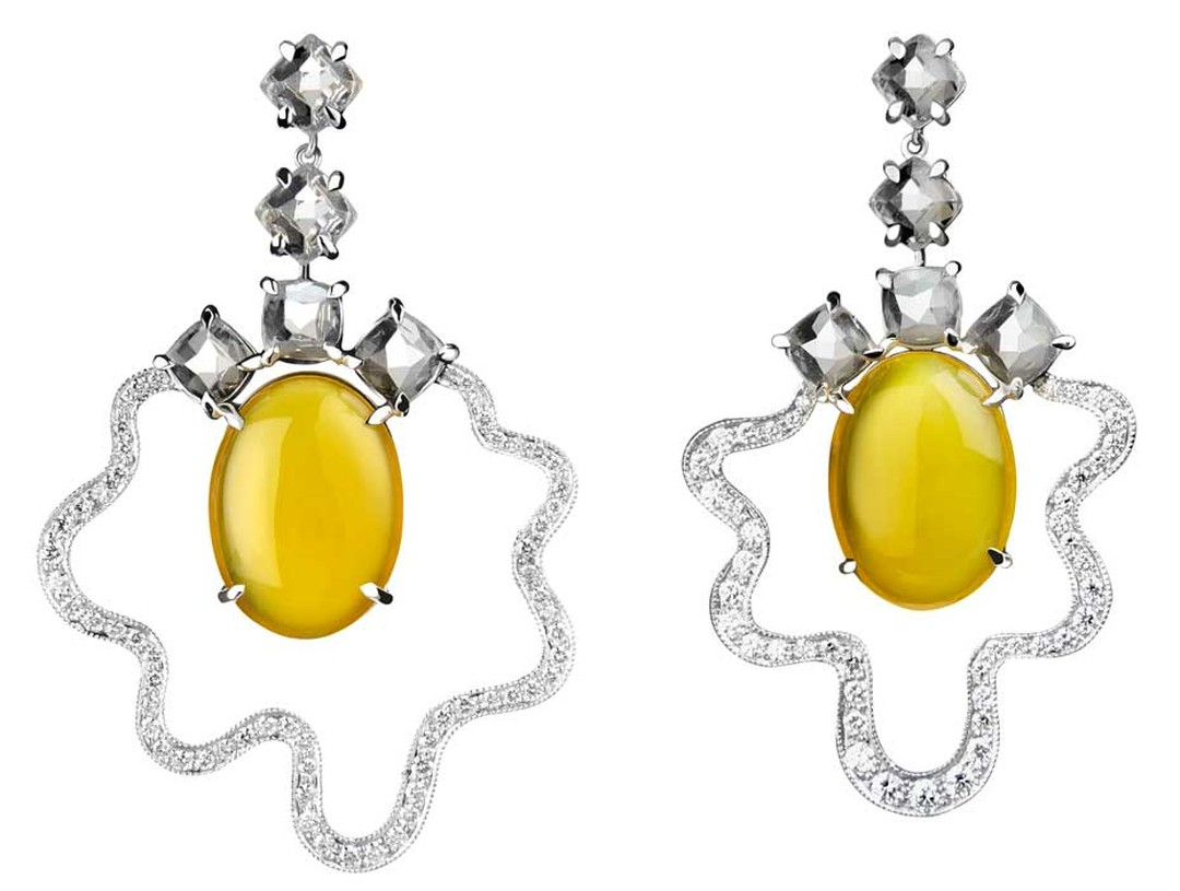 Tessa Packard Fried Egg earrings in white gold and diamonds, from the new Fat Free collection.