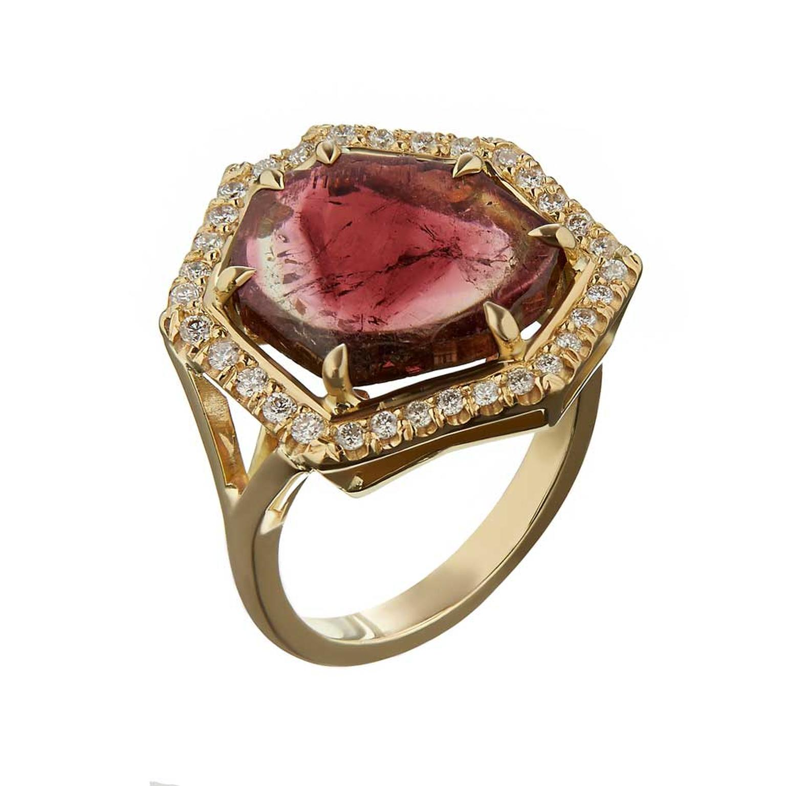Tessa Packard Brighton Rocks ring in yellow gold, set with a watermelon tourmaline and diamonds.