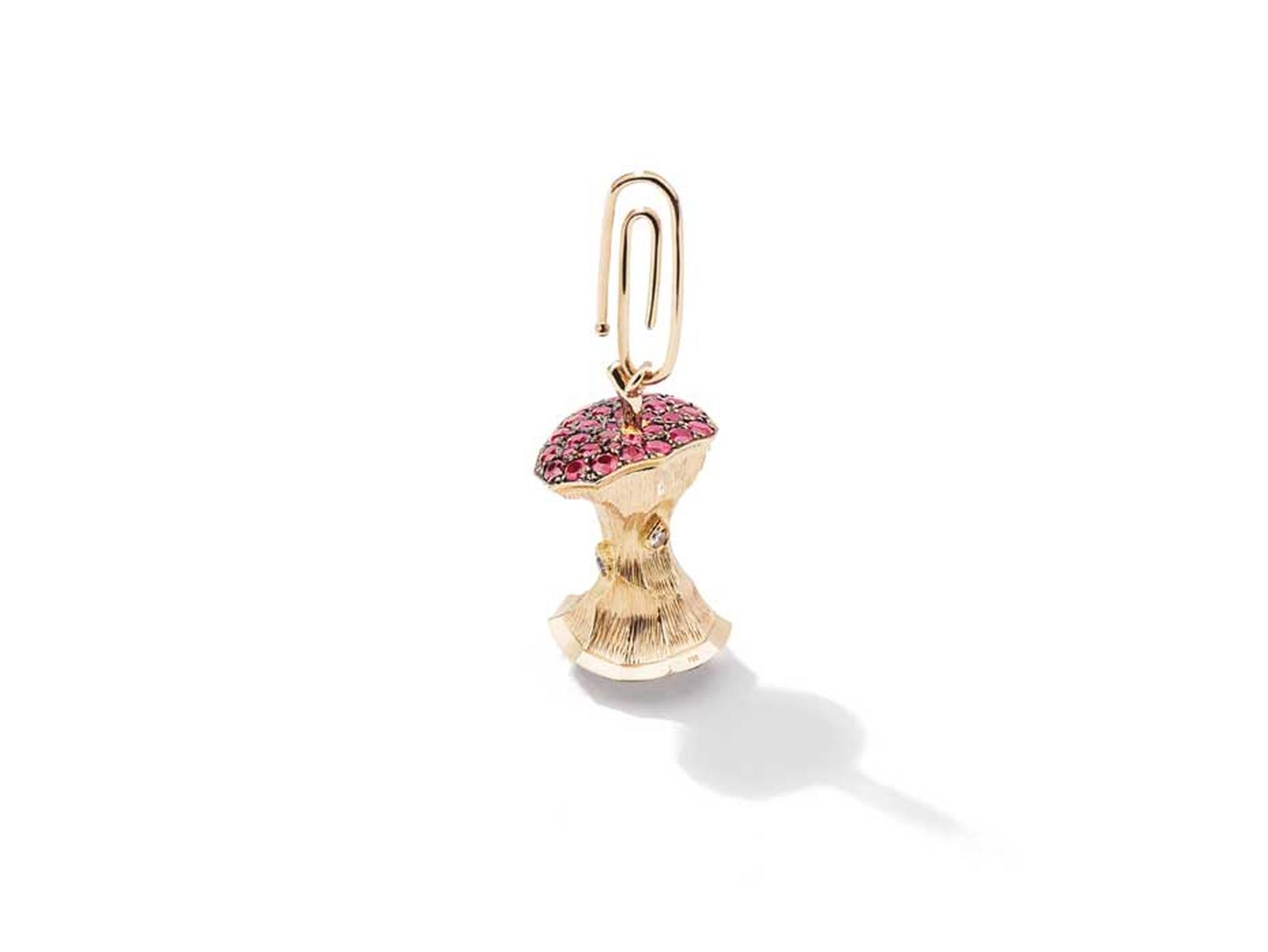 Aurélie Bidermann ruby and diamond Big Apple pendant in yellow gold