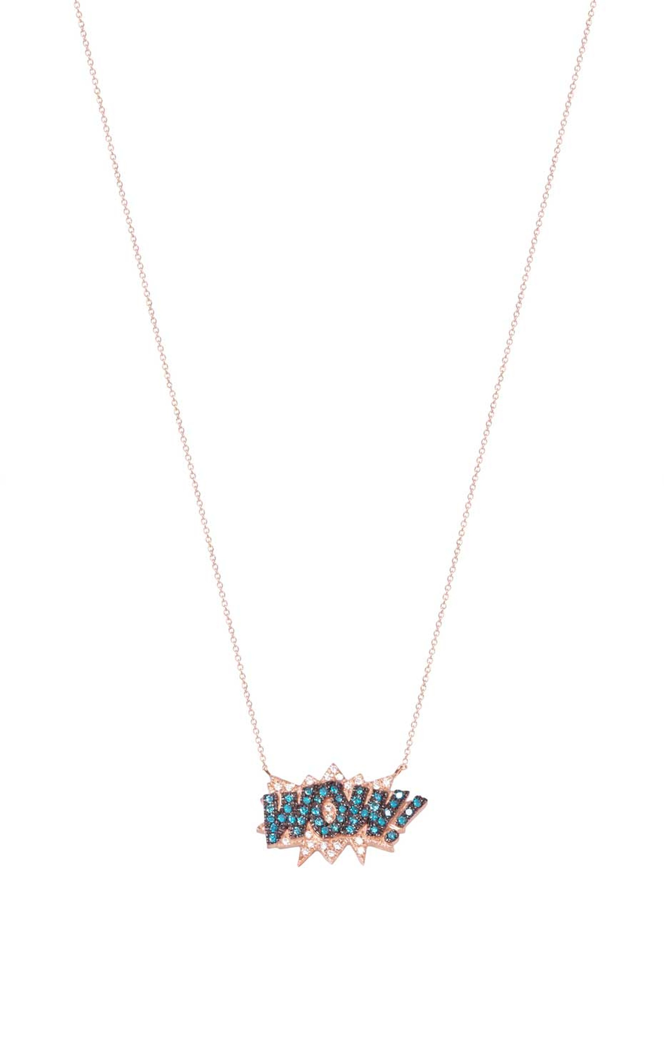 This Diane Kordas Wow necklace features white and blue diamonds on an 18ct rose gold chain.
