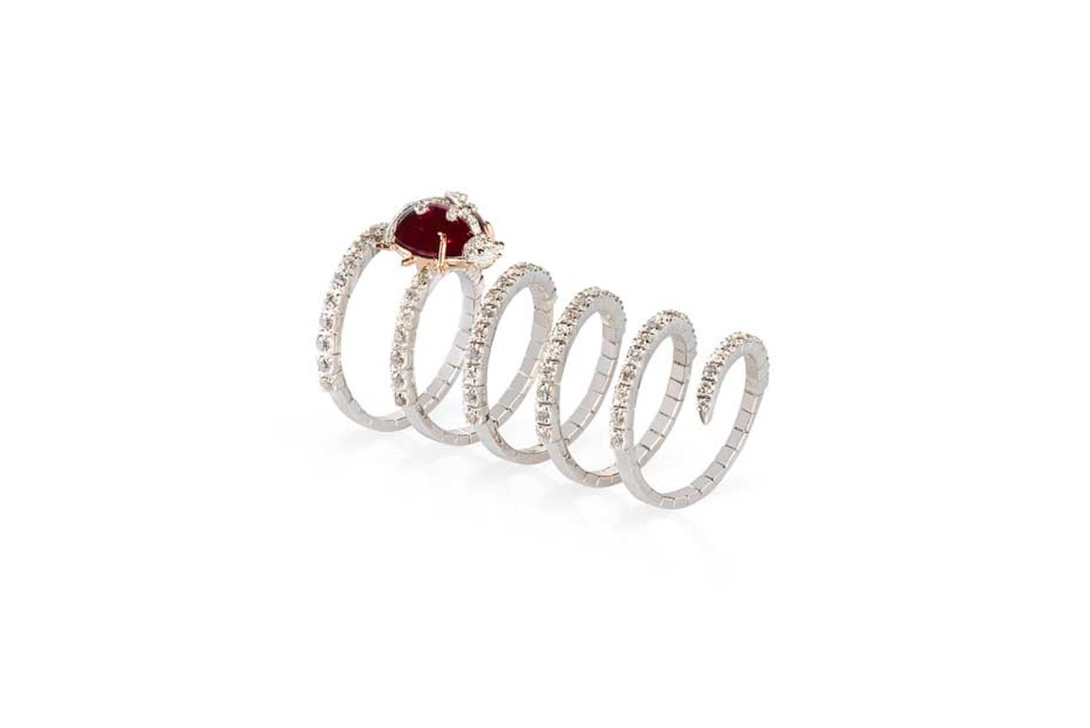 The adorable ruby Ladybug ring in 18ct gold with diamonds from Gismondi's Twirl collection.