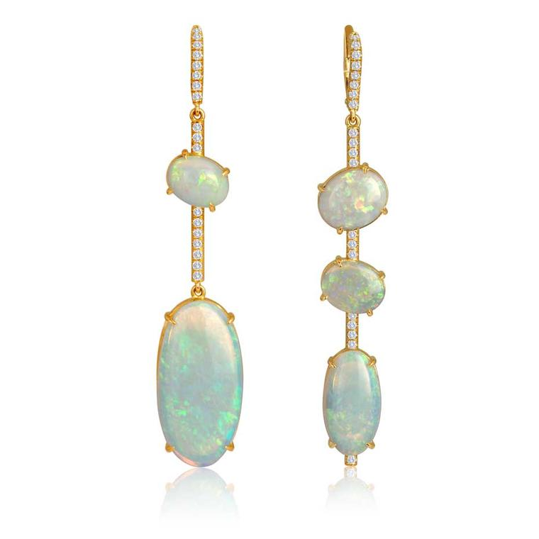 Lis Nik fine jewelry asymmetrical opal and diamond earrings in rose gold.
