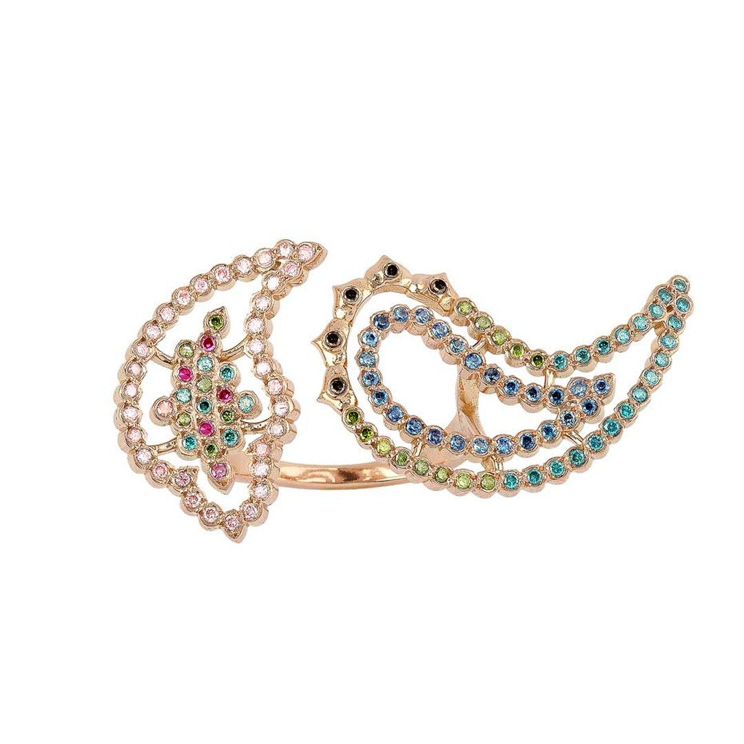 Lito Hedy Lamarr ring in pink gold with coloured diamonds and blue sapphires from the Wonderland collection.