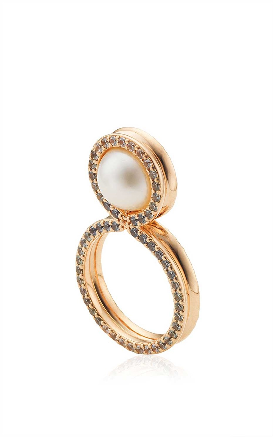 Melanie Georgacopoulos' Glow 8 Ring in 18ct rose gold with sapphires and 10mm white fresh water pearl.
